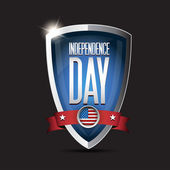 Patriot day september 11, 2001 on shield — Stock Vector