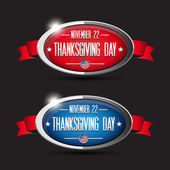 Thanksgiving day button set - red, blue — Stock Vector