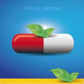 Natural medicine pill and green leaves — Stock Vector