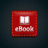 Botón del icono ebook con cuero rojo — Vector de stock