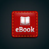 Ebook icon button with red leather — Stock Vector