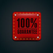 Guarantee leather button red — Stock Vector