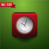 Wall clock red vector — Vettoriale Stock