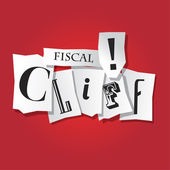 Fiscal Cliff warning - newspaper signs — Stock Vector