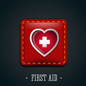 First aid and heart icon leather — Stock Vector