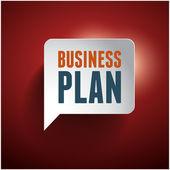 Business plan speech bubble red — Stock Vector