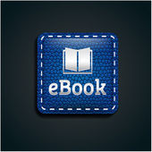 Ebook icon button on blue leather — ストックベクタ