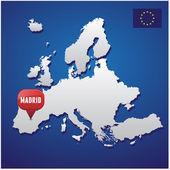 Madrid na evropské mapě a eu vlajky — Stock vektor