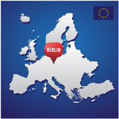 Berlin on european map and EU flag — Stock Vector