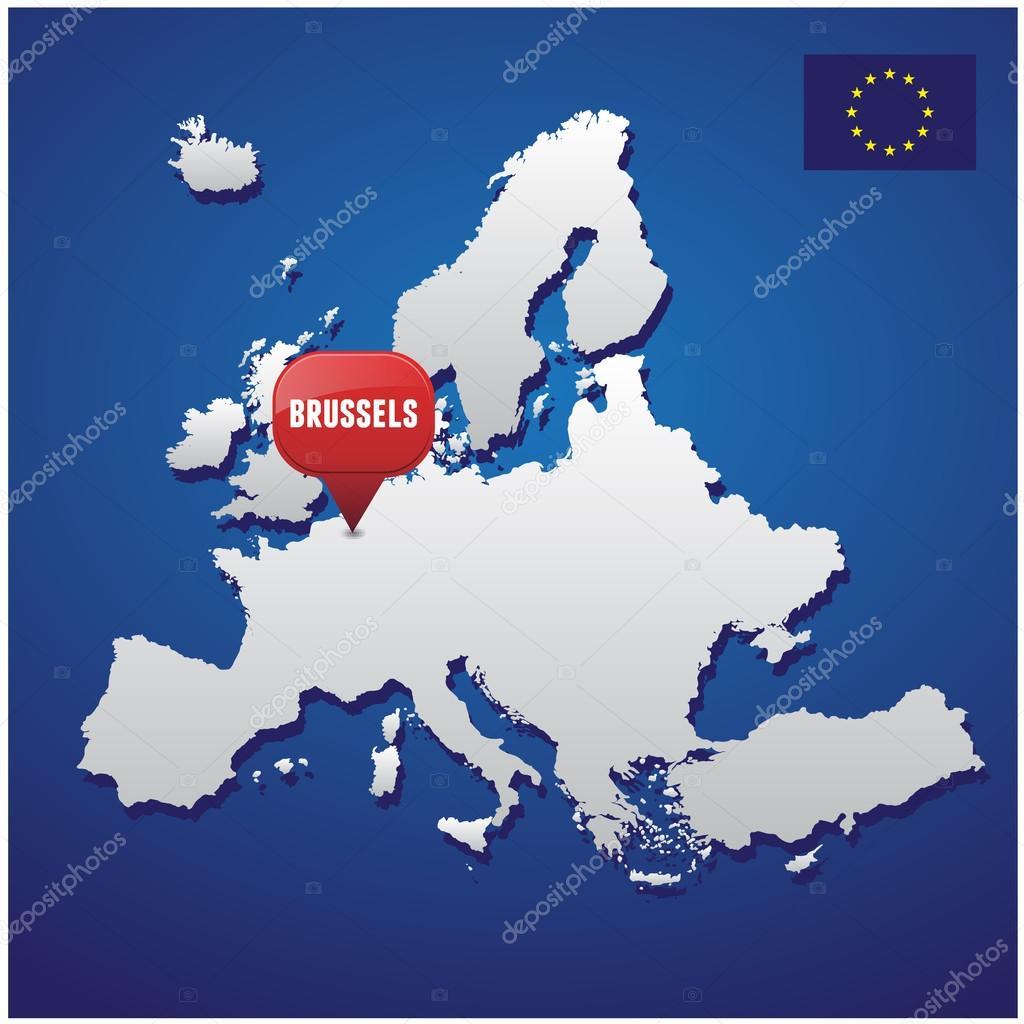 布鲁塞尔欧洲地图及欧盟旗帜上 — 图库矢量图像08