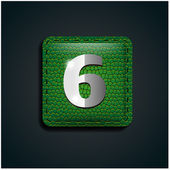 Number six on green leather — Stock Vector