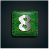 Number eight on green leather — Stock Vector