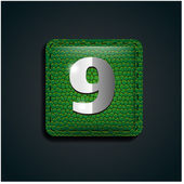 Number nine on green leather — Stock Vector