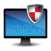 Computer protection - Shield antivirus — Stock Vector
