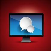Speech bubble icons on screen — Stock Vector