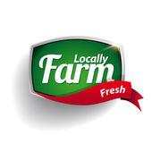 Farm food label, badge or seal — Stock Vector