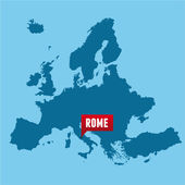 European map and Rome city — Stock Vector
