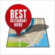 Stock Vector: Restaurant finder app button