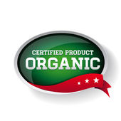Certified organic label or sticker for products — Stock Vector