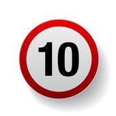 Speed sign - Number ten button — Stock Vector