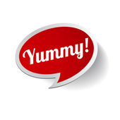 Yummy label or speech bubble — ストックベクタ
