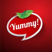 Yummy ετικέτα ή φούσκα ομιλία — Διανυσματικό Αρχείο
