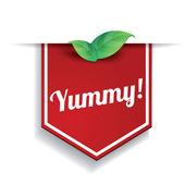 Yummy label or speech bubble — Stock Vector