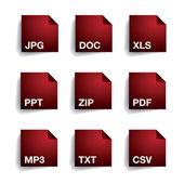 File type folder icon set — Stock Vector