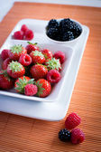 Strawberries, raspberries, blackberries — Stock Photo