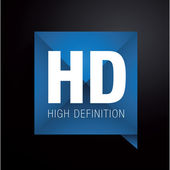 HD - high definition label — Vettoriale Stock