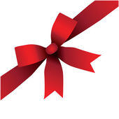 Shiny red satin ribbon on white background — Stok Vektör