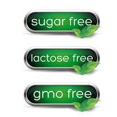 Healthy labels - Sugar, lactose and gmo free — Stock Vector