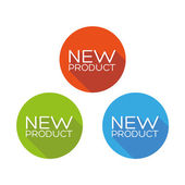 New product flat button set — Stock Vector