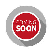 Coming soon button blue flat design — Stock Vector