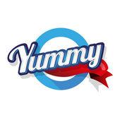 Yummy label lettering — Vector de stock