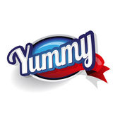 Yummy label lettering — Stock Vector