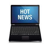 Notebook ekran üzerinde sıcak haber — Stok Vektör