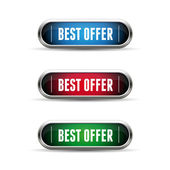 Best offer button set — Stock Vector