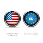 Usa and Eu flag button — Stock Vector