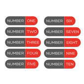 Number set button red — Stockvector
