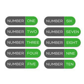 Number set button green — Stockvector