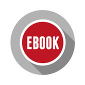 Ebook icon button red — Stock Vector