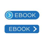 Синяя кнопка со значком eBook — Cтоковый вектор