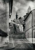 Prague's New World vintage photo — Stock Photo