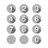 Numbers set grey. Vector flat design — Stock Vector