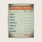 Business hours vector template — Stock Vector