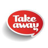 Take away sticker etiket — Stok Vektör