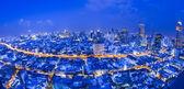 Vista notturna di bangkok città — Foto Stock