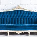 sofá vintage azul — Foto Stock