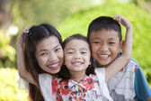 Family, mom, daughter and son too smile. — Stock Photo